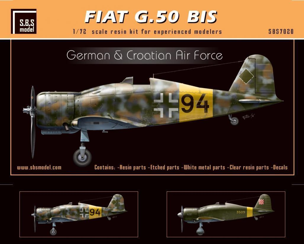 S.B.S Models, 1 72, 7020, Fiat G.50 bis 'German & Croatian Air Force' full kit