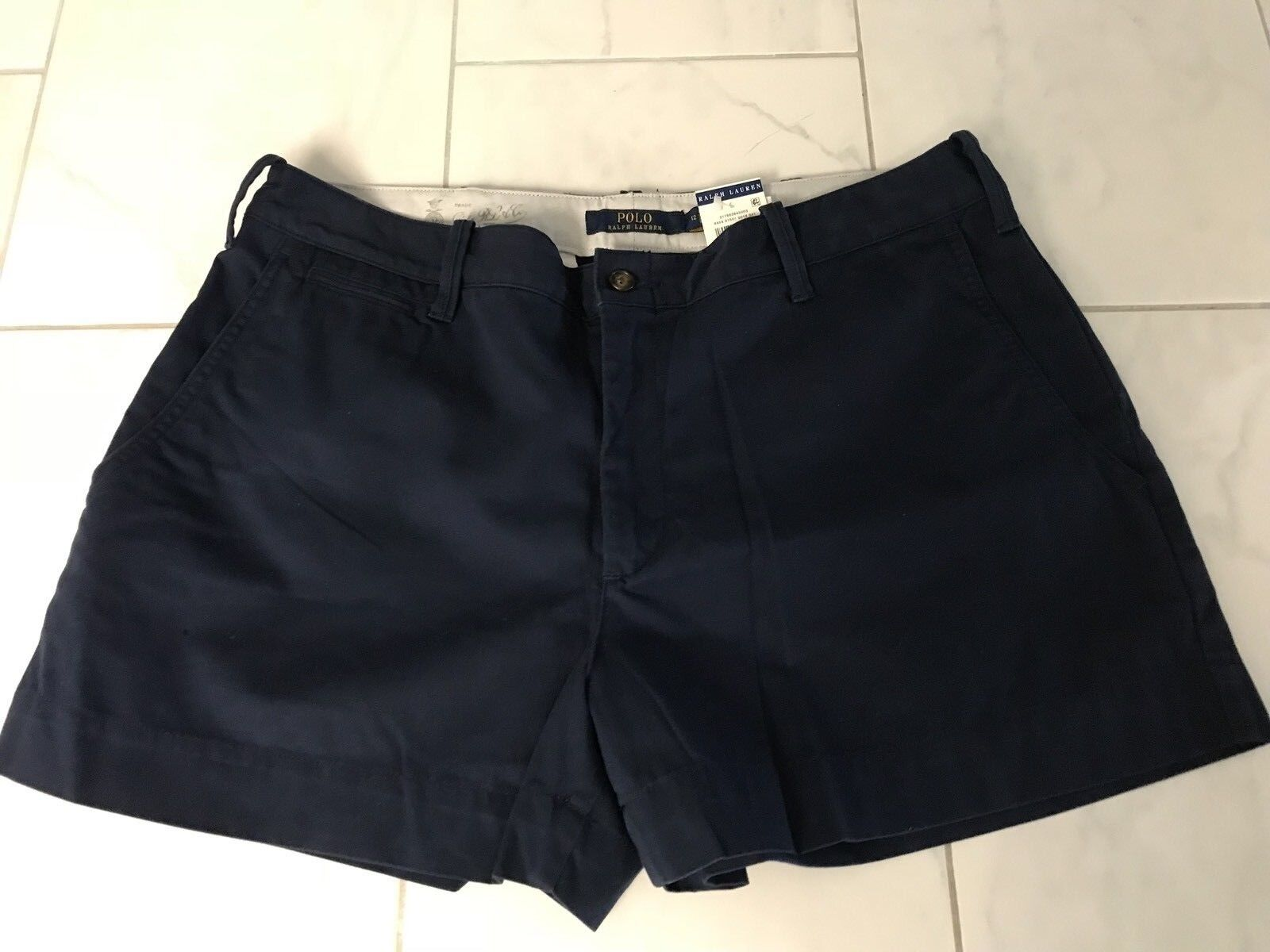 NWT POLO RALPH LAUREN WOMENS LADIES NAVY blueE COTTON SHORTS 10 PONY