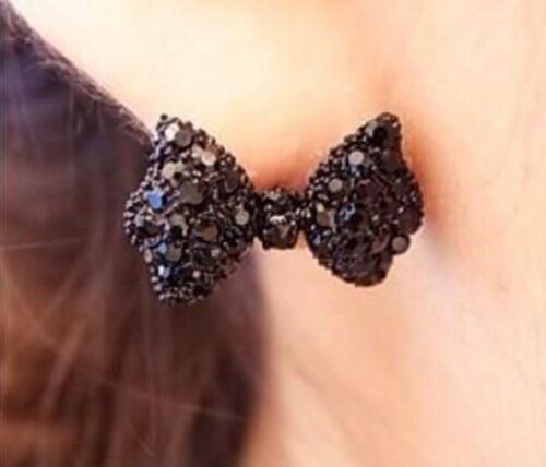Boucles d/'oreilles noeud papillon noir IDÉE CADEAU