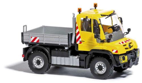 """amarillo MB Unimog u430 /""""utilización del vehículo/"""" h0 coche terminado modelo 1:87 Busch 50918"""