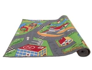 Details zu Spielteppich 200x95 cm Kinderteppich Kinderzimmer Jungen Mädchen  Teppich Village