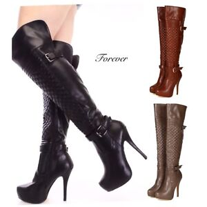 5d58b0283 NEW Women's Sexy Stiletto Slim Over Knee Leather Thigh High Boots ...