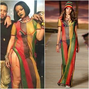 d6c5713364 Rasta Rihanna work side split ladies string mesh net see dress Large ...
