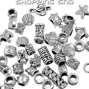 50PCS MIX Silver Tone Tibetan Charm Beads Rondelle Spacer Murano Bracelet Making