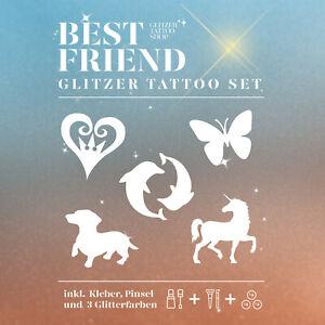 Glitzer-Tattoo-Set-HappyKids-23-teilig-Best-Friends-Kinderfest-komplett-Set