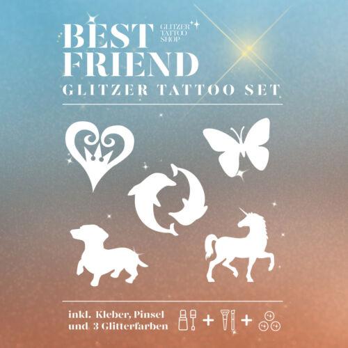 Glitzer Tattoo Set HappyKids Best Friends Kinderfest komplett Set Glitter set