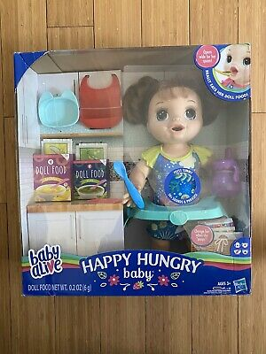Baby Alive Happy Hungry Baby Brown Straight Hair Doll Girls Ages 3 Brand New