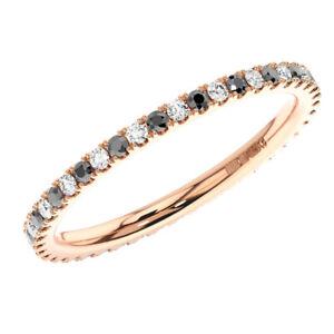 2mm-Black-and-White-Diamonds-Alternate-set-Full-Eternity-Ring-In-9K-Rose-Gold