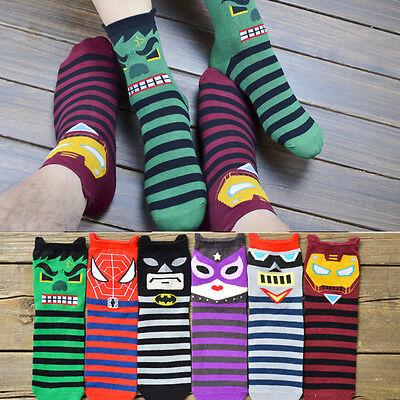 Trendy Unisex Super Hero Superman Batman Printed Cartoon Cotton Ankle Socks Hot