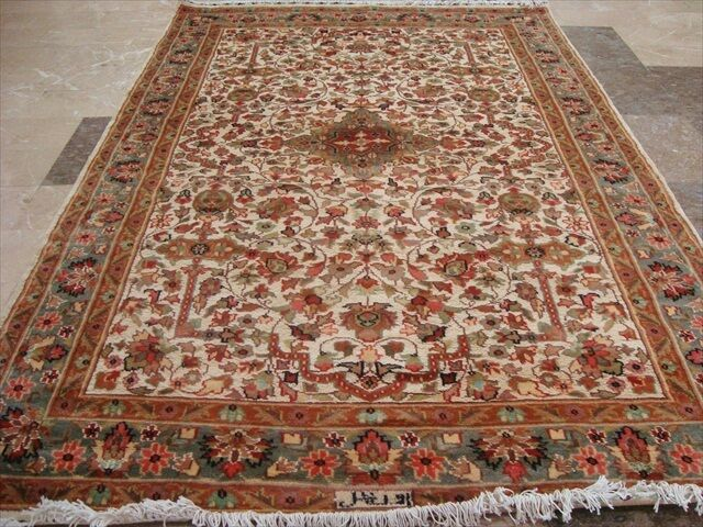 Alfombra Rectángulo Medallón Mehrab Taj marfil de seda de lana Alfombra Anudada A Mano (6 X 4)'