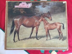Antique-Vintage-Toy-wood-jigsaw-puzzle-horses-mare-foal-wooden-jig-saw-original