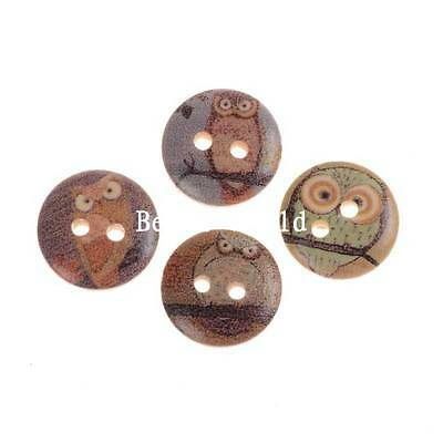 100 Pcs Mixed Owl Pattern Round 2 Holes Wood Sewing Buttons Scrapbooking 15mm