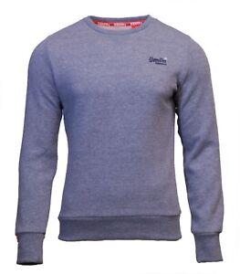 Superdry-Mens-New-Orange-Label-Crew-Neck-Sweatshirt-Overhead-Long-Sleeve-Blue