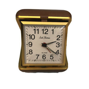 Seth-Thomas-Wind-Up-Travel-Alarm-Clock-Brown-Case-With-Instructions-Vintage