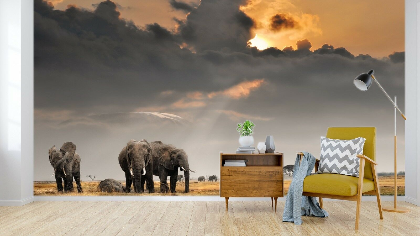 3D Elephant Meadow 87 Wallpaper Mural Paper Wall Print Murals UK Sidney