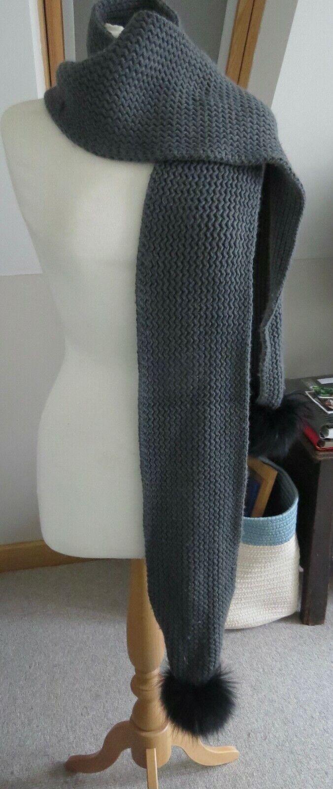Amelia Jane London Grey wool scarf with real fur detachable pom poms