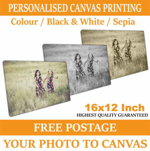 16x12 Inch A3 Canvas Your Personalised Photo Picture Hp Latex Inks timber frame