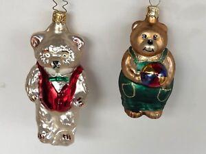2-Teddy-Bear-Vintage-Glass-Christmas-Tree-Ornaments