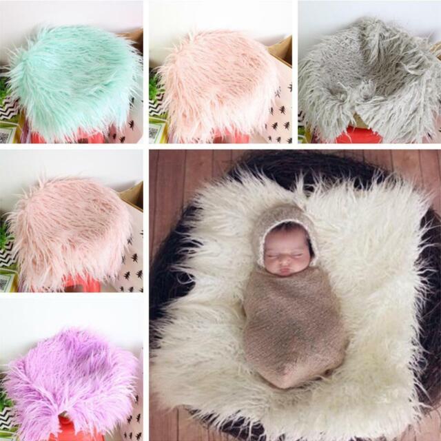 Newborn Baby Knit Faux Fur Blanket Rug Basket Stuffer Photography Photo Props