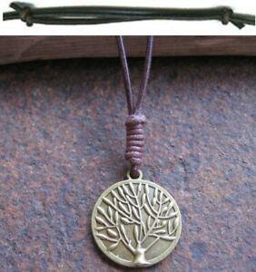 Lebensbaum-Halskette-Herren-neu-Damen-Leder-braun-Surferkette-Kette-Lederkette