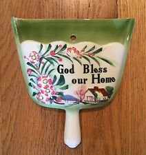 """Vintage Lifton's Japan Dust Pan Shaped """"God Bless our Home"""" Ceramic Wall Pocket"""