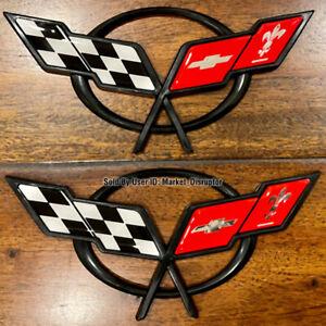 2 PCS - Cross Flag Emblems Fits Corvette C5 Front & Rear 1997-2004