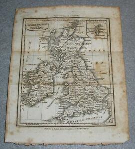 Antique-Great-Britain-Ireland-Map-Scotland-England-Wales-UK-Baldwin-Cradock-1823
