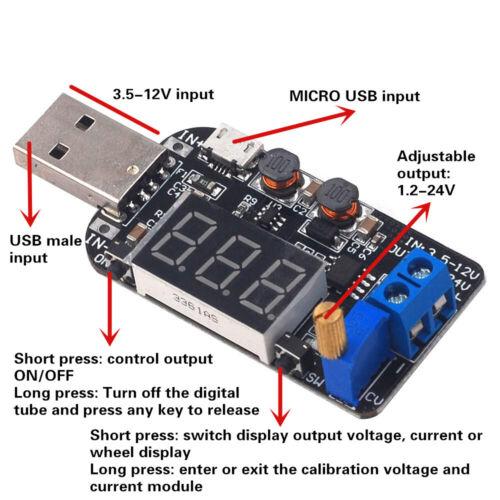 USB Micro USB 5V bis 3.3V 9V 12V 18V 24V Buck-Boost-Netzteilmodul ED