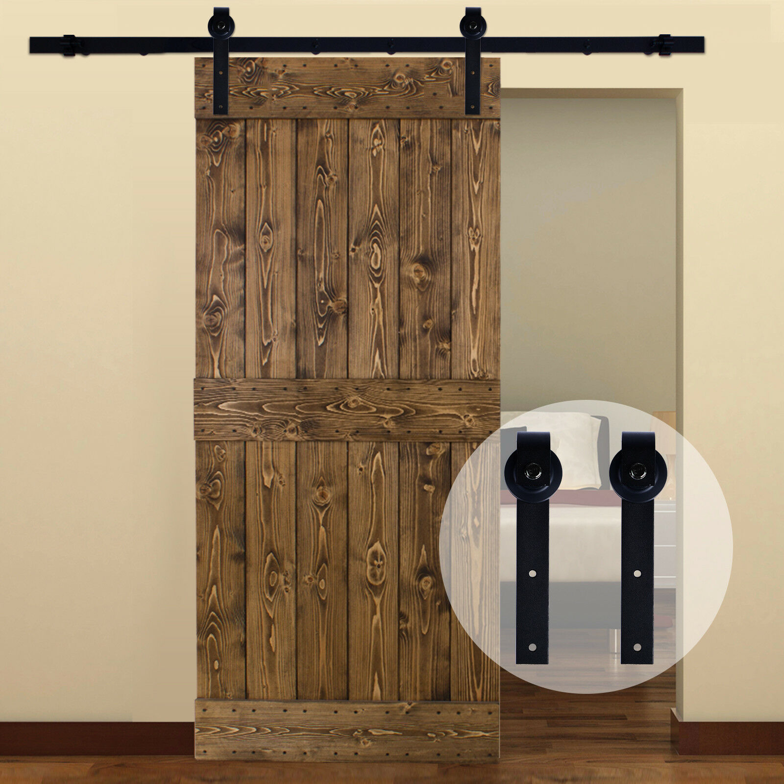CCJH 3-20FT Sliding Barn Door Hardware Closet Track Kit For Single//Double//Bypass