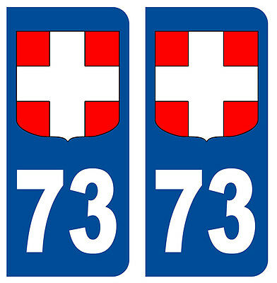 73 Savoie Departement Immatriculation 2 X Autocollants Shock-Resistant And Antimagnetic Sticker Auto Waterproof