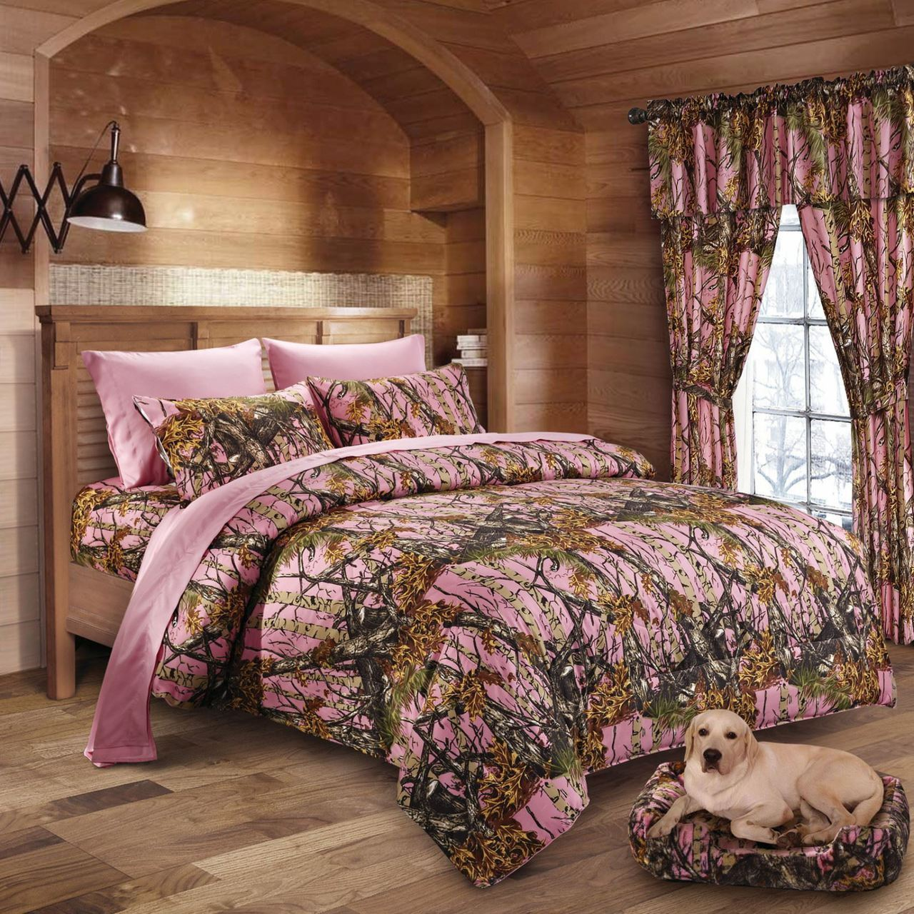 22 pc Pink Woods Camo Queen size comforter sheets pillowcases and curtains set