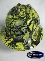 NEW Custom MSA V GARD Full Brim Hard Hat Yellow Mr. Creepy Skull Pattern