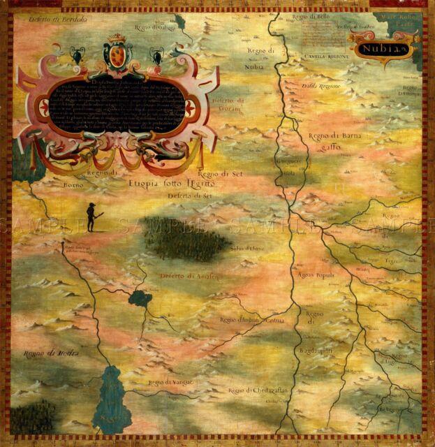 MAP ANTIQUE BONSIGNORI GOLD NUBIA HISTORIC LARGE REPLICA POSTER PRINT PAM0710