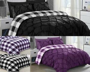 Luxury-Check-Pintuck-Bedding-Reverse-Checked-Print-Duvet-Cover-Set-Pillow-Case