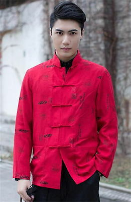 traditional chinese mens linen kung fu shirt tops dress shirt red sz m l xl 2xl - Chinese New Year Outfit