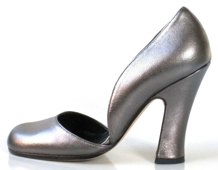 New  504 ADELE CLARKE metallic metallic metallic pewter leather D'orsay heels pumps shoes  6 f10e2d