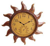 Indoor Outdoor Rustic Sun Thermometer Clock Temperature Weather Glass Face Decor