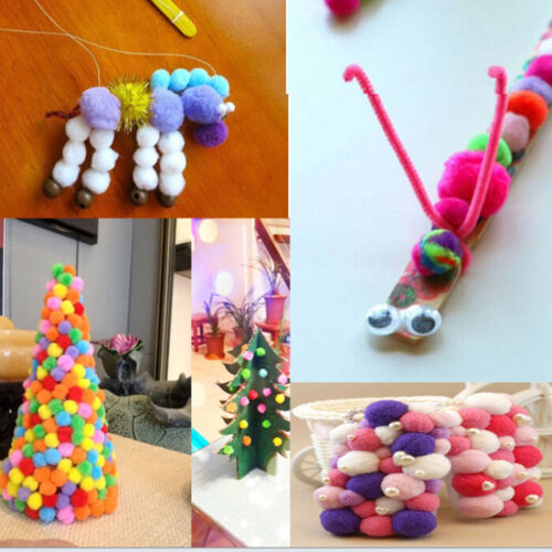 100Pcs Mixed Fluffy Felt Pom Poms Ball Assorted Color Craft DIY Snow Balls、2018