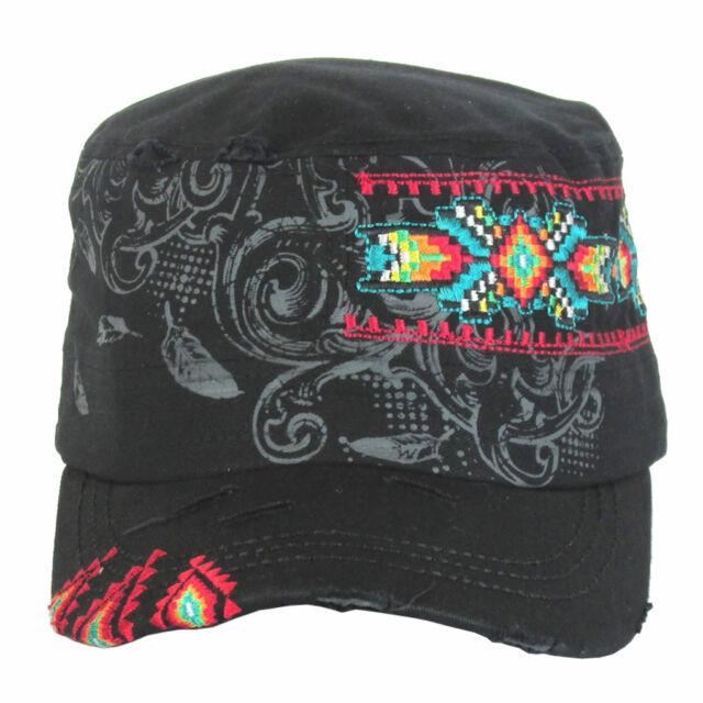 91c6db0d Women's Military Cadet Cap Hat Cotton Crystal Studded Black Tribal ...