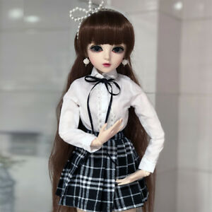 60cm-1-3-BJD-Doll-Handgefertigt-Maedchen-Puppen-Mit-Augen-Gesicht-Make-Up-Kleid