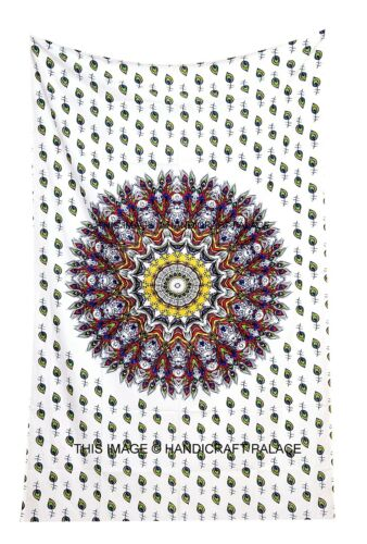 Peacock Feather Mandala White Tapestry Indian Wall Hanging Twin Bedspread Throw