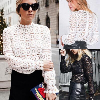 Fashion Women New Lace Crochet High Collar Blouse Casual Long-sleeve Shirt Tops