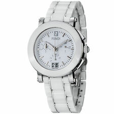 Fendi Women's Ceramic White Dial Chronograph Quartz Bracelet Date Watch F662140