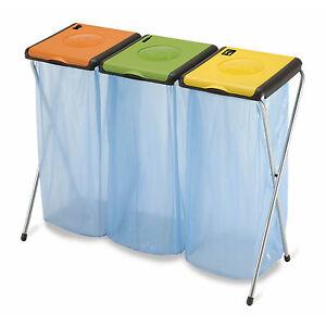 dreifach m llsackst nder f r 3x 120 liter gelber sack m lleimer m llsackhalter ebay. Black Bedroom Furniture Sets. Home Design Ideas