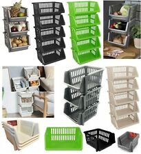 KITCHEN STORAGE STACKING STACKABLE BASKET FRUIT VEGETABLE RACK 1 2 3 4 5 TIER