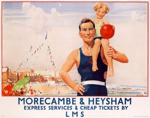 Vintage LMS Morecambe Railway Poster  A3 Print