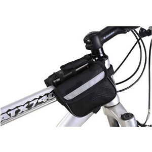 MOUNTAIN-BIKE-BICYCLE-DOUBLE-PANNIER-FRONT-FRAME-TUBE-BAG-MESH-PHONE-CASE-KEYS