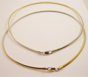 New-2-in-1-4mm-Reversible-Gold-amp-Silver-16-034-Omega-Necklace-w-Lobster-Clasp-CP7