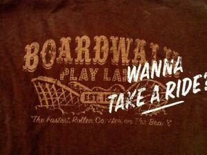 Vintage Style Distressed BOARDWALK ROLLER COASTER PARK Wanna Ride LARGE T SHIRT