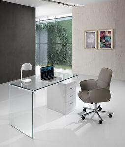 Scrivania design vintage moderno industriale shabby chic casa loft vetro ufficio ebay - Scrivania ufficio vetro ...